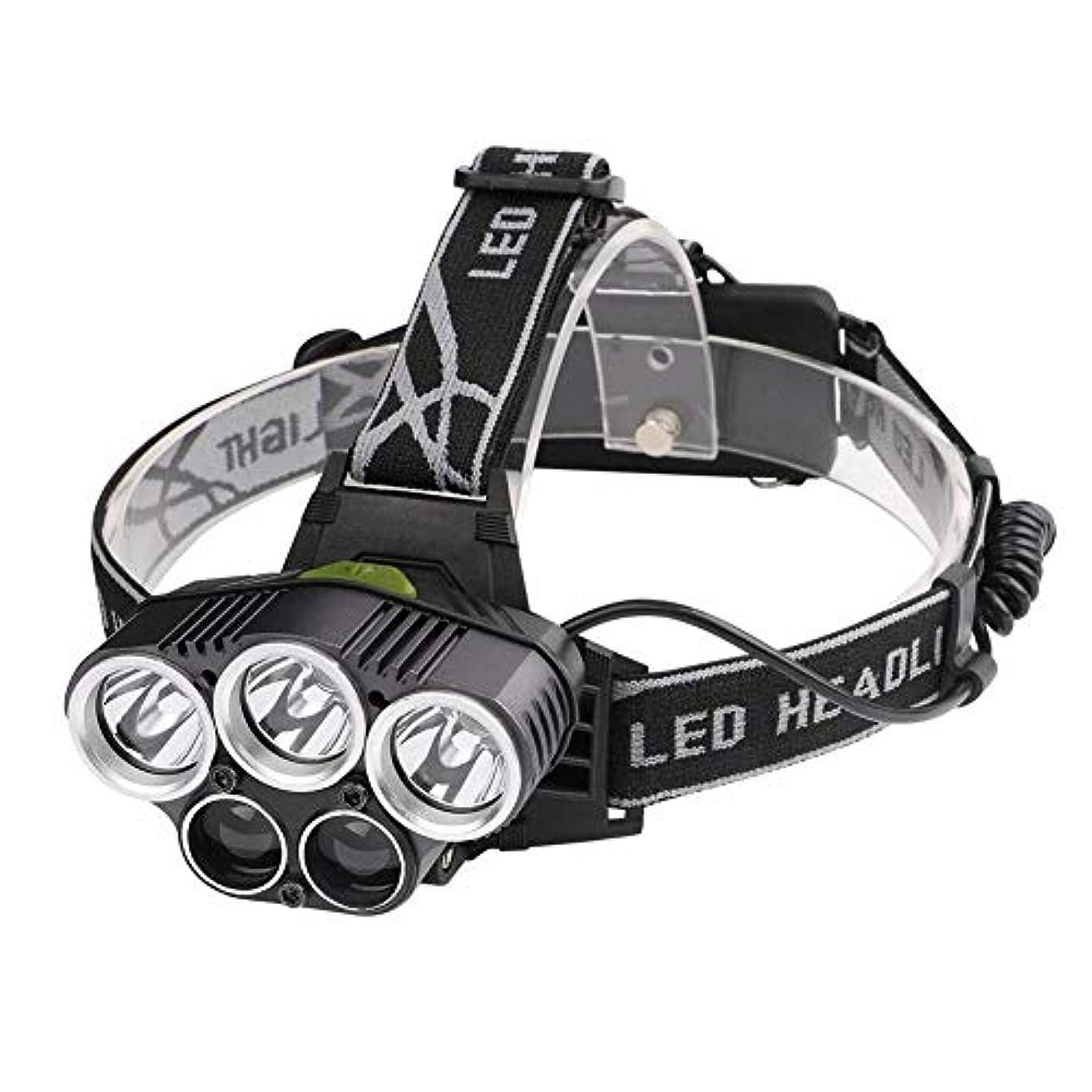 それに応じてゲストバージン(ラブリー) Lovely LED ヘッドライト ヘッドランプ 5灯式 2000ルーメン 防水 充電式 6段階モード 角度調節可能 登山 アウトドア 防災用 USB充電可能