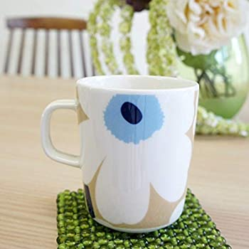 marimekko UNIKKO マグカップ ベージュ×オフホワイト×ブルー 35(017) [63431]