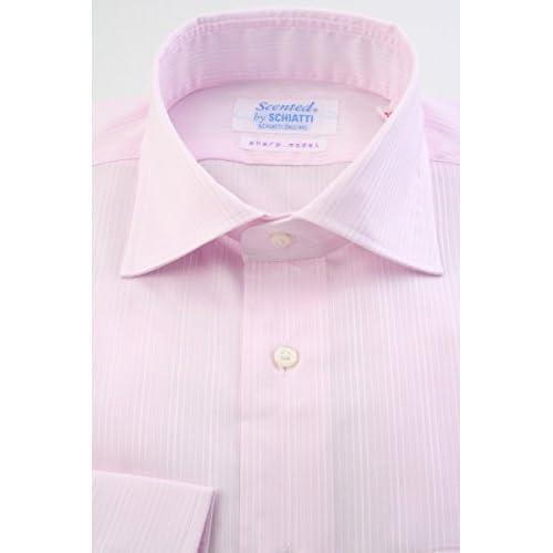 (スキャッティ) Scented ライトピンク地 ストライプドビー 綿100% ワイドカラー (細身) ドレスシャツ wd4165-3882
