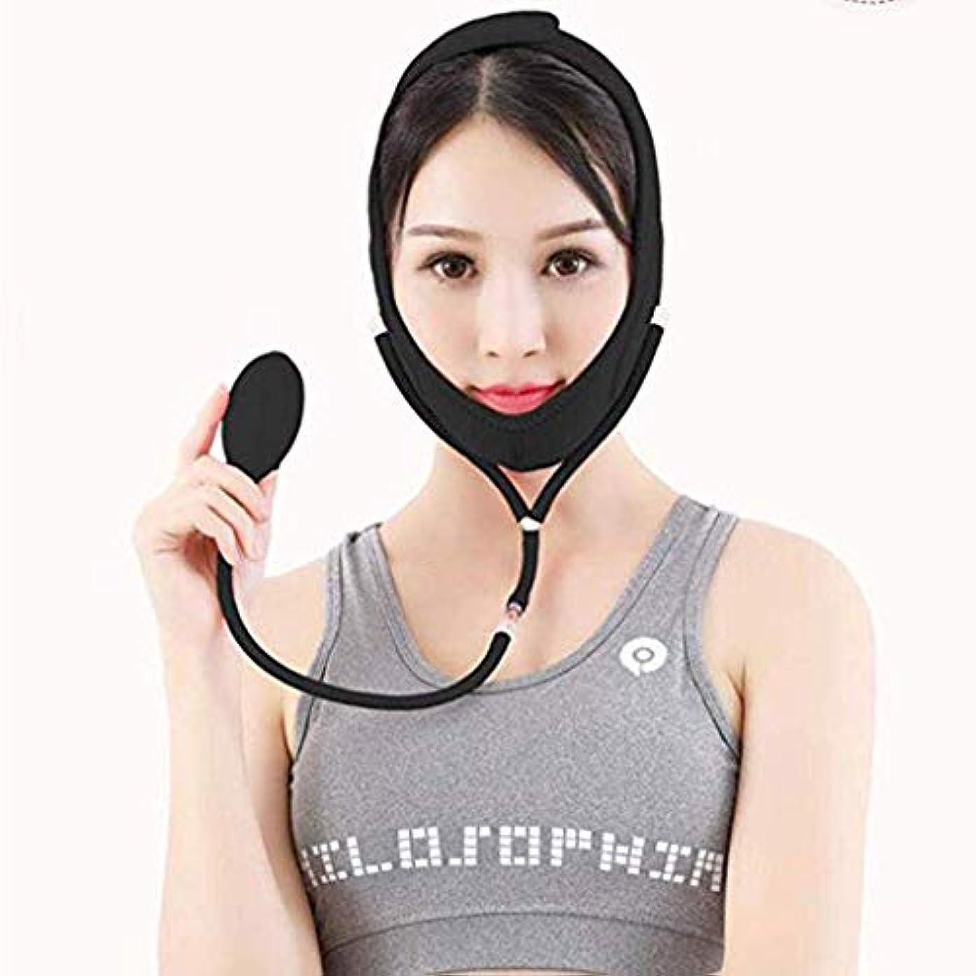 ビーズ義務付けられたローズHUYYA 女性の顔を持ち上げるベルト、しわ防止包帯 Vライン頬 二重あごの減量顔,Black_Large