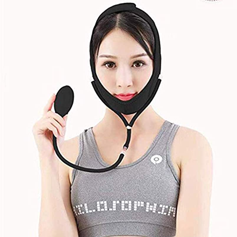 傀儡メニュー多数のHUYYA 女性の顔を持ち上げるベルト、しわ防止包帯 Vライン頬 二重あごの減量顔,Black_Large