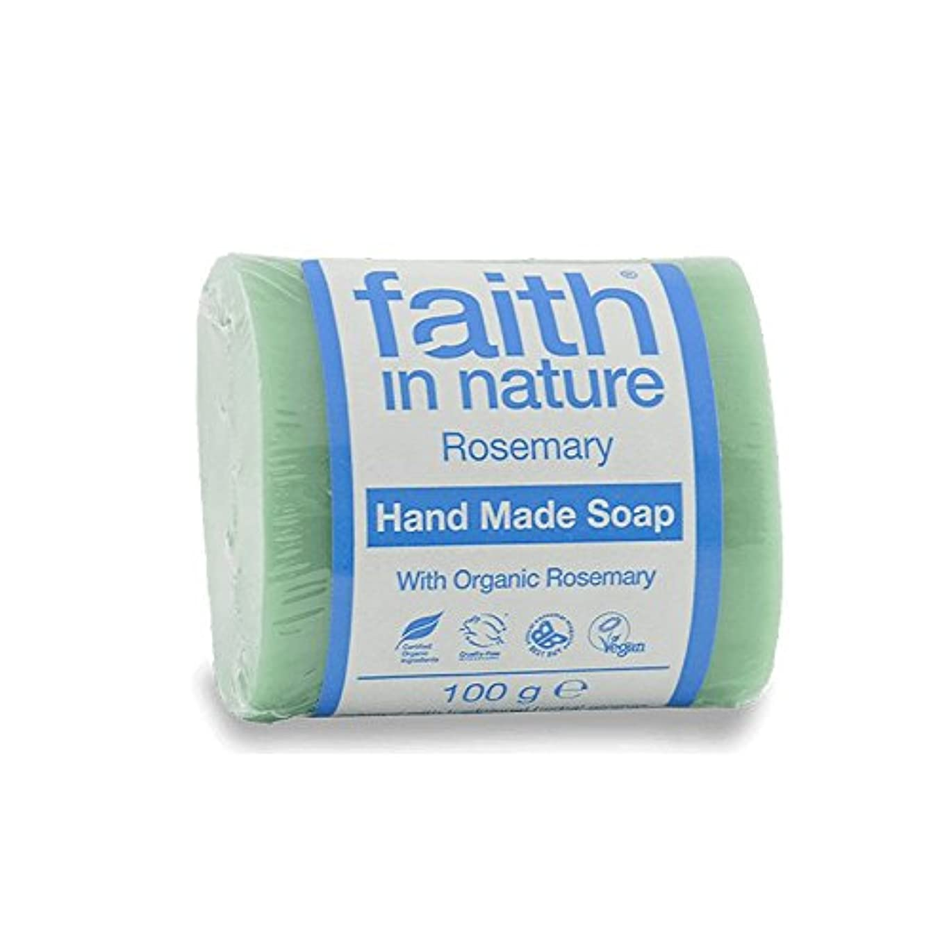 利点中古押すFaith in Nature Rosemary Soap 100g (Pack of 6) - 自然ローズマリーソープ100グラムの信仰 (x6) [並行輸入品]