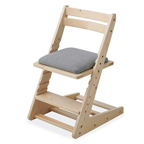 LOWYA (ロウヤ) 木製チェア 学習チェア 座面5段階昇降 天然木 ファブリック座面 ランドセル収納可能