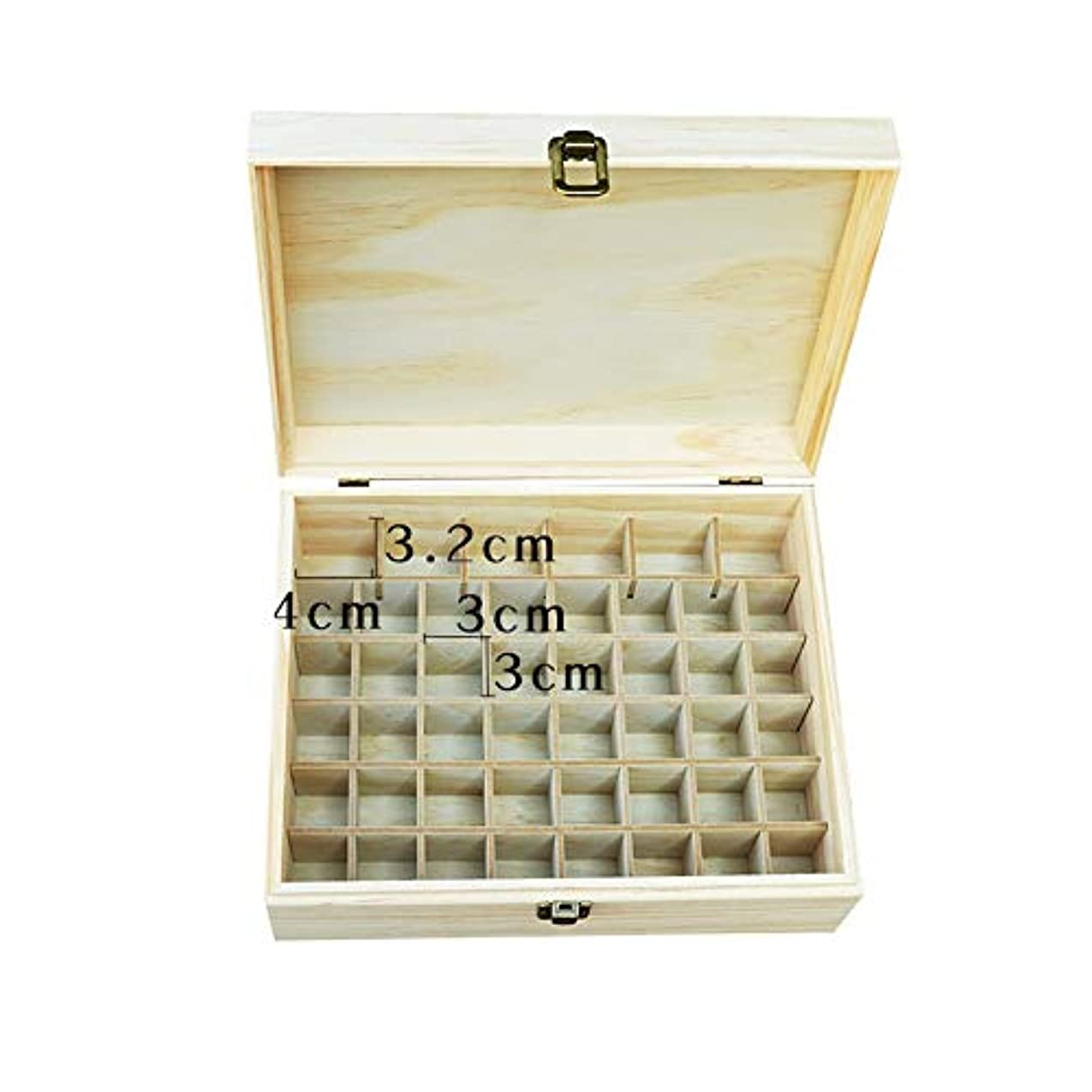 現代人工的な解放するエッセンシャルオイルの保管 大46ボトル木製のエッセンシャルオイルの収納ボックス (色 : Natural, サイズ : 22.2X10.2X8.2CM)