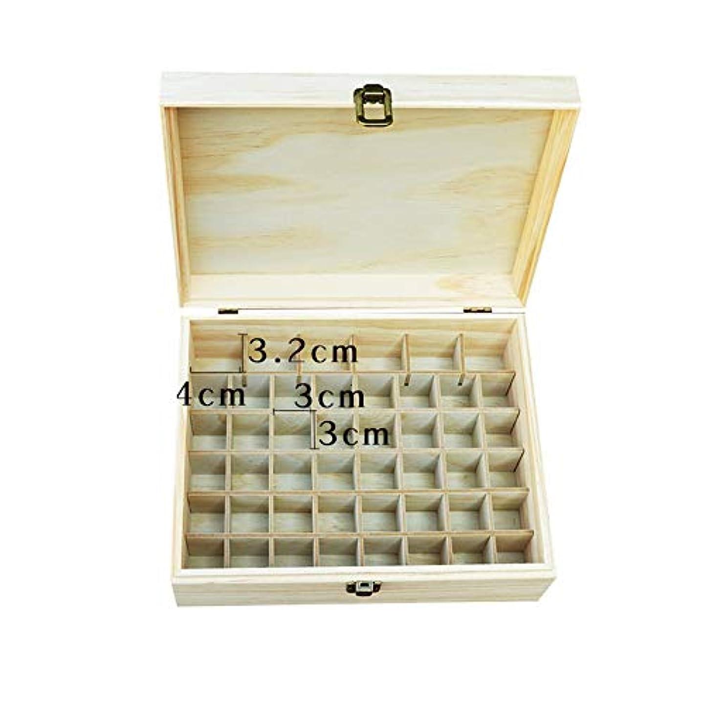 影響反発メイドエッセンシャルオイル収納ボックス 大46ボトル木製のエッセンシャルオイルストレージボックス (色 : Natural, サイズ : 22.2X10.2X8.2CM)