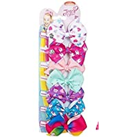 JoJo Siwa Bows 7 days Jojo Bow 8 cm with Unicorn and Rainbow pattern - Beautiful Hair Accessories - Best Xmas Present Stocking Filler for Girls