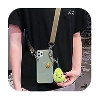 ぬいぐるみキャロットアボカドピーチペンダントケースiphone 11ポーX Xr Xsマックス6 6 s 7 8プラスソフトTPUカバー付きクロスボディストラップストラップ-スタイル2-アボカド-iPhone 11の場合