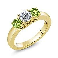 Gem Stone King 1.10カラット 天然 ダイヤモンド 天然石 ペリドット シルバー925 イエローゴールドコーティング 指輪 リング