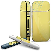 iQOS COMPLETE アイコス 専用スキンシール 全面セット サイド ボタン スマコレ チャージャー カバー ケース デコ ユニーク フラワー 黄色 模様 シンプル 001885