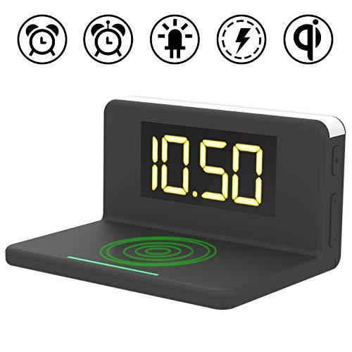 ワイヤレス充電機能・常夜灯付き目覚まし置き時計 クロック デジタル置き時計 ...