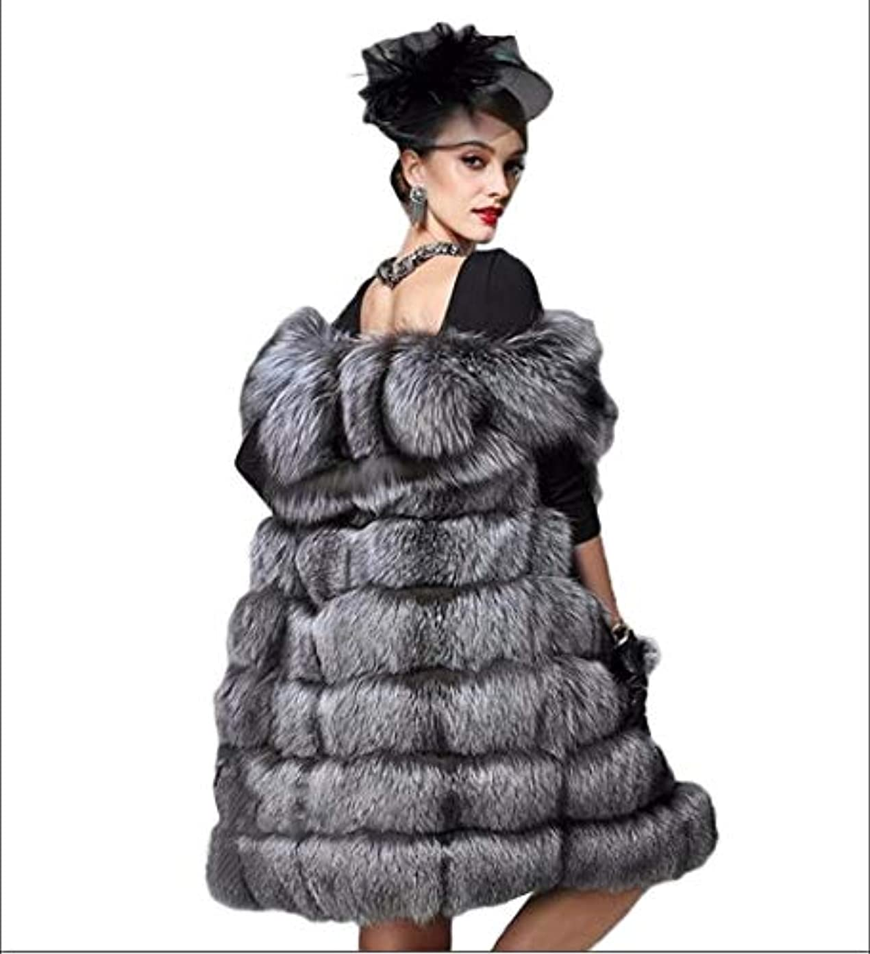 キリン考え宙返り女性のフェイクファーベストベストフェイクファーウォーム暖かいふわふわの高級アウターウェア秋ファッションスタイルロングスリーブステッチGilet,M