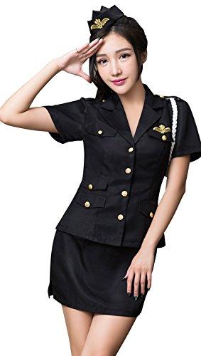 Anna Mu 警察官 婦人警官 ミニスカ ポリス 可愛い セット コスプレ衣装 コスチューム ブラック レディース M z2044