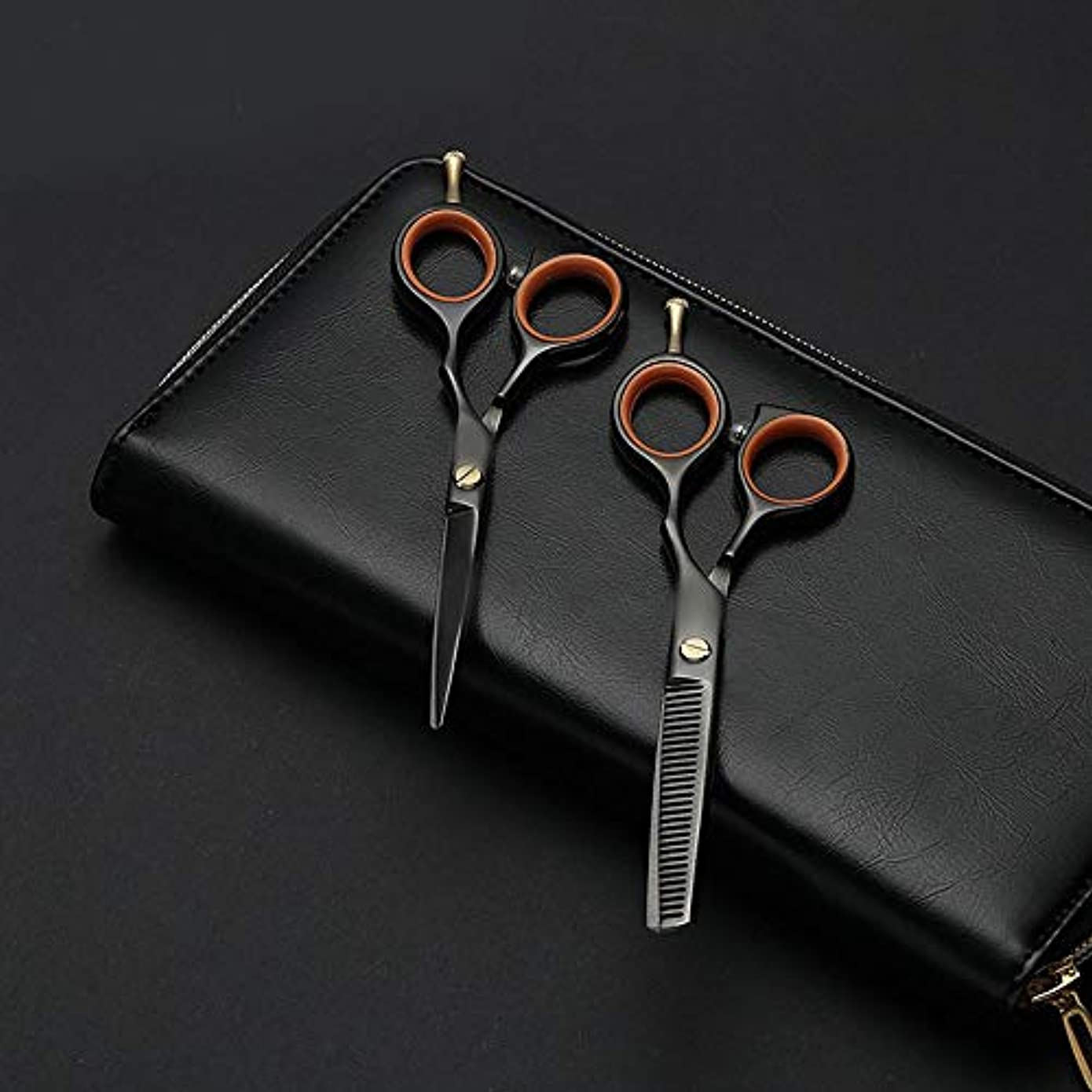 マーケティング摂氏度節約Hairdressing 5.5インチの専門の理髪はさみ、美容院の組合せセット理髪はさみ毛の切断はさみステンレス理髪はさみ (色 : 黒)