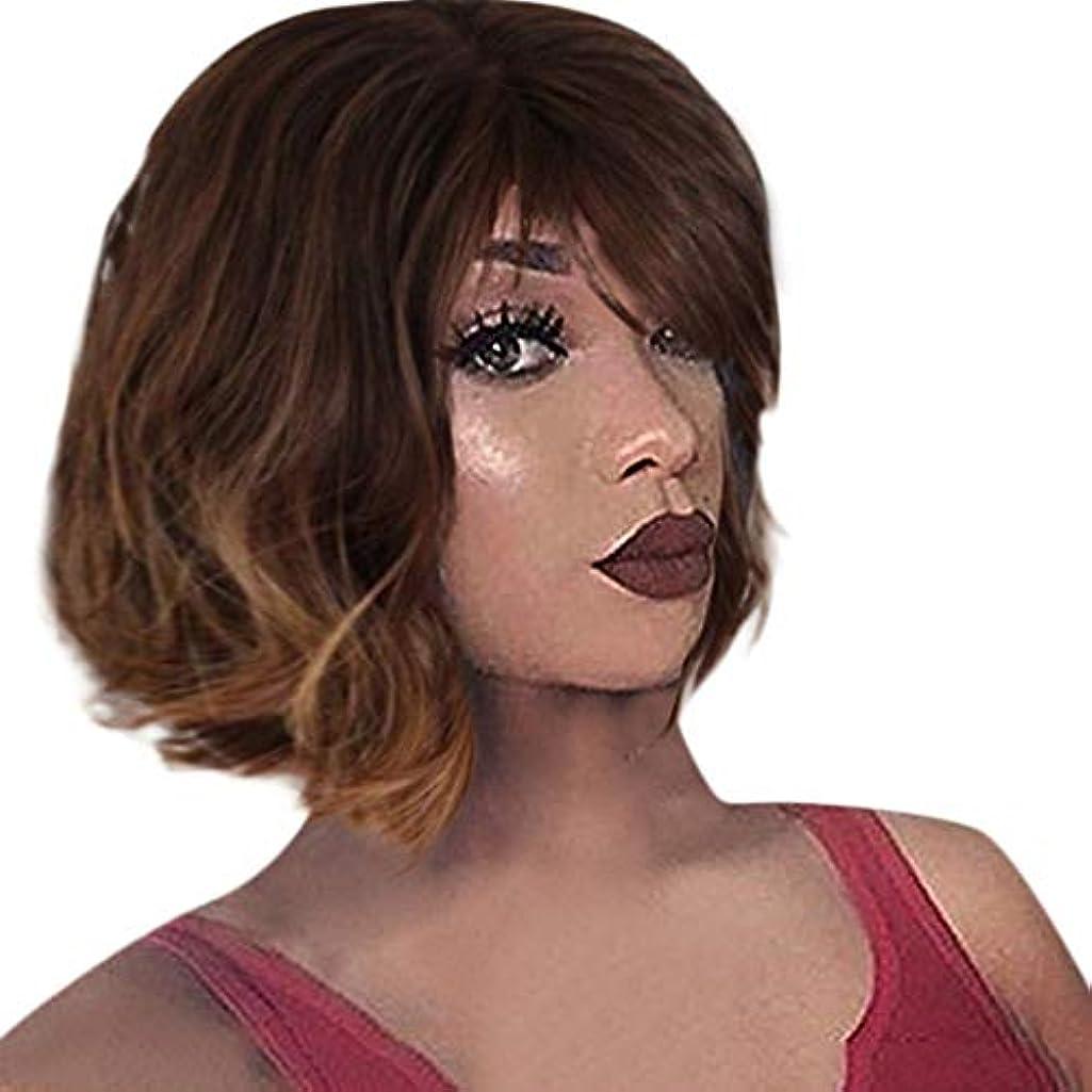 論文型アプローチファッション茶色のかつら短い巻き毛ボブかつらローズネット