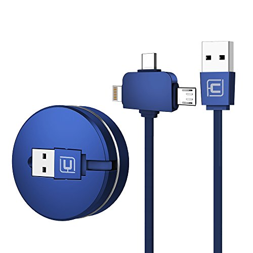 CAFELE ライトニングケーブル USB Type-Cケーブル3in1 充電ケーブル 巻き取り式 長さ1m iPhone x / iPhone8 / 8plus / iPadなど充電対応 データ転送ケーブル (ブルー 3in1)