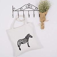 Student Tote Bag, Zebra Shopping Shoulder Bag Canvas Large School Handbag (White) Polykor