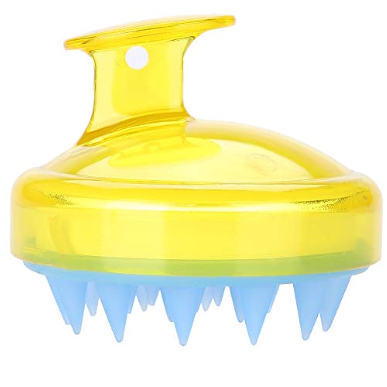 5色マッサージャーヘッド - スカルプマッサージャー、マッサージャーブラシヘッドシャンプー - ボディ洗浄マッサージャーのためのシャワーブラシ(黄)