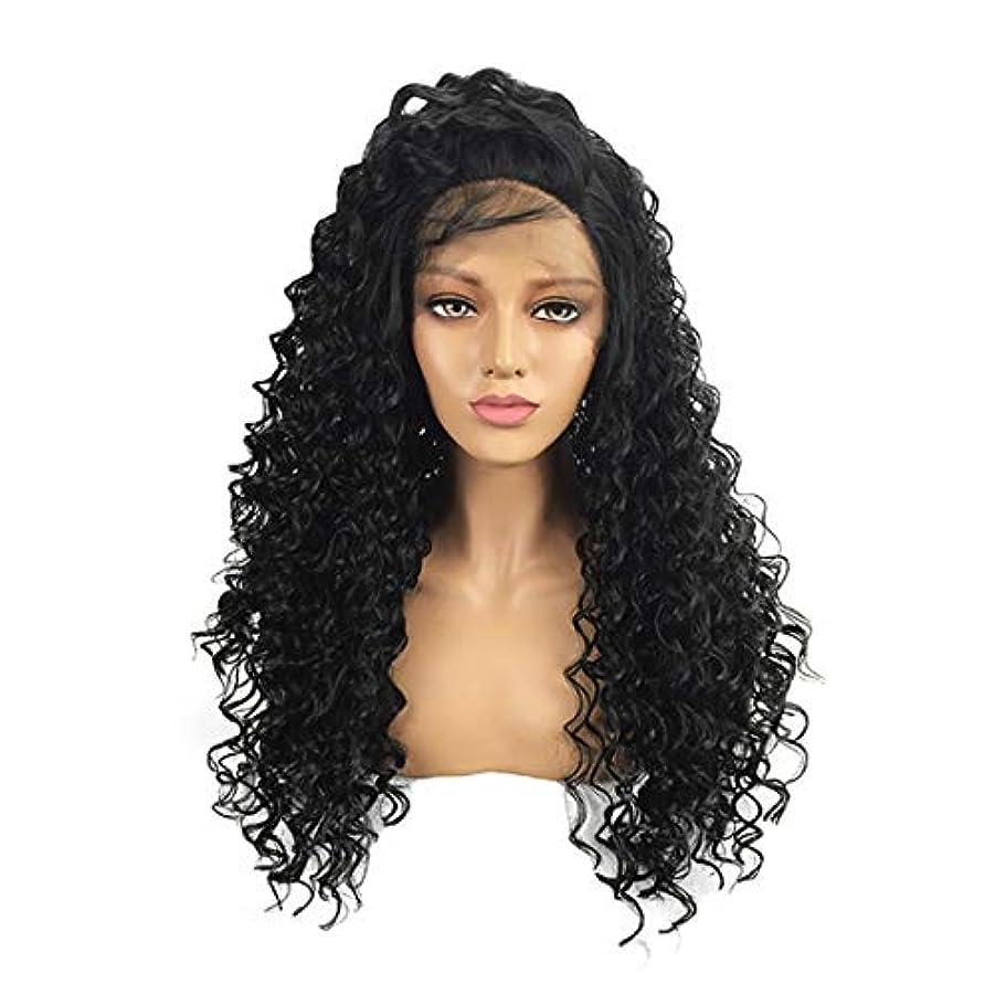 経過限定に同意するKoloeplf 黒人女性用レースフロントウィッグカーリーブラックフルウィッグ女性用ナチュラル耐熱性 (Size : 24 inch)