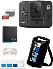 【GoPro公式限定】GoPro HERO8 Black + 予備バッテリー + 認定microSDカード32GB + 公式ストア限定非売品 メガホルダー(白) & ドライバッグ & ステッカー