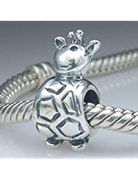 Giraffe Charm 925 Sterling Silver Animal Charm Lucky Charm for Bracelet (A)
