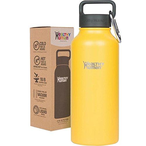 Healthy Human Water Bottle おしゃれ ウォーターボトル 真空断熱ステンレス魔法瓶 (21oz (621ml), Limoncello)
