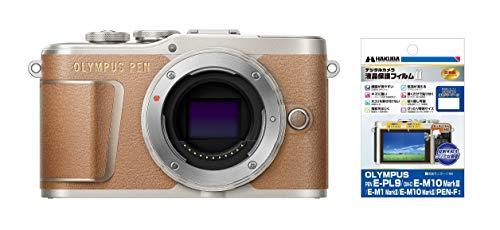 OLYMPUS ミラーレス一眼 PEN E-PL9 ボディー ブラウン + HAKUBA 専用液晶保護フィルムセット