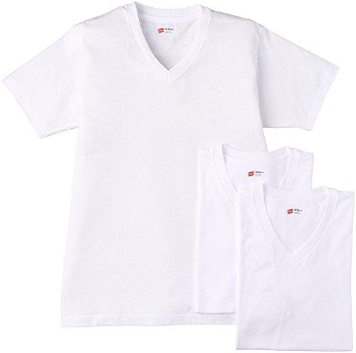 (ヘインズ)Hanes Tシャツ アオラベル Vネック 3枚組 (最新モデル) HM2125G 010 ホワイト M