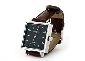 (ワンチャー) WANCHER CIFRAx シフラエックス 黒文字盤 金ムーブメント 茶バンド 腕時計 スクウェアー型 手巻き ワンハンドウォッチ 1針時計 WAWT-Cifrax