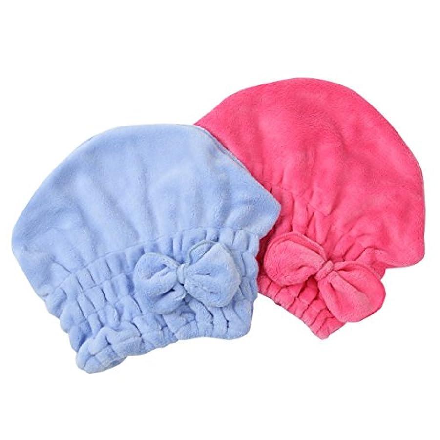 のホスト事コレクションBEATON JAPAN 吸水ヘアキャップ タオルキャップ マイクロファイバー 2色セット(ブルー&ローズレッド)