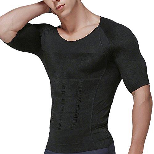 加圧インナー メンズ 加圧シャツ 加圧インナーシャツ 加圧トレーニングウェア Uネック ブラック L