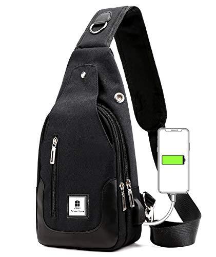 ボディバッグメンズ 斜め掛け ワンショルダーバッグ USBポートショルダーバッグ イヤホン穴付き 大容量 軽量 防水 肩掛け カジュアル ブラックグレー