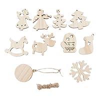 木材チップ 木片 木製装飾 チャーム 穴 ロープ付き DIY 工芸品 装飾 盛り合わせ 10枚