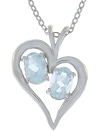 1 Ct Genuine Aquamarine Oval Heart Pendant .925 Sterling Silver