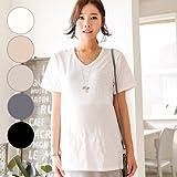 マタニティウェアベーシックVネック半袖Tシャツ SOT5125 FREE(フリー) BLACK(ブラック)