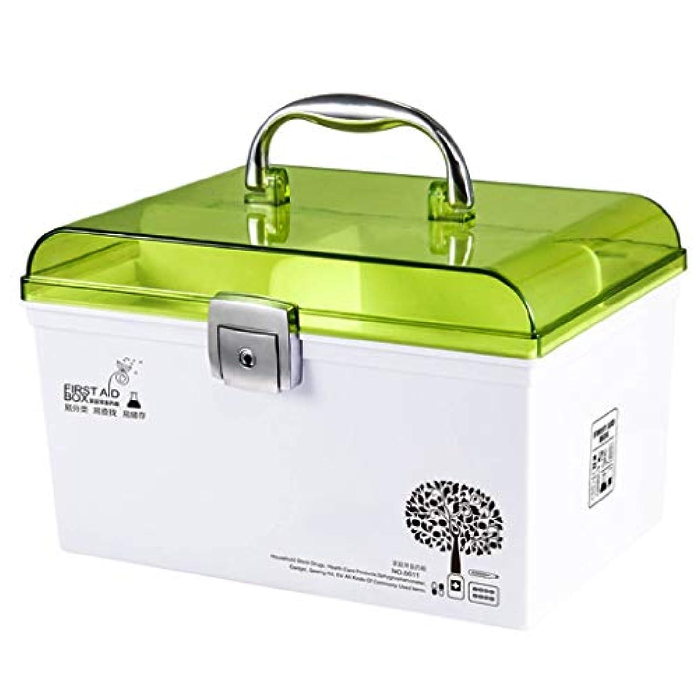 学校死本会議CQ 薬箱透明プラスチック家庭用漫画ポータブル薬収納ボックス (Color : Green)