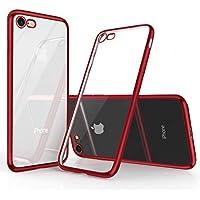 iPhone8 ケース iPhone7ケース [ TPU ソフト ] [ ワイヤレス充電対応 ] [ 超薄型 超軽量 ] [ 耐衝撃 バンパー ] ( iPhone 7 , iPhone 8 , クリア ・ レッド )【Humixx】