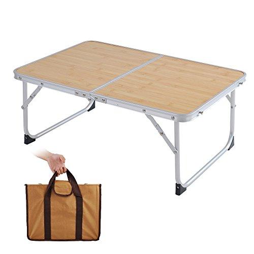 アウトドア テーブル 折りたたみ GEEDIAR 軽量 デスク アルミ製 コンパクト 持ち運び便利 ピクニック レジャー キャンプ 用 収納袋付属 (竹の色)