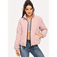 INFASHION Women's Pink Casual Zip Front Puffer Jacket with Drawstring, Zipper, Pocket