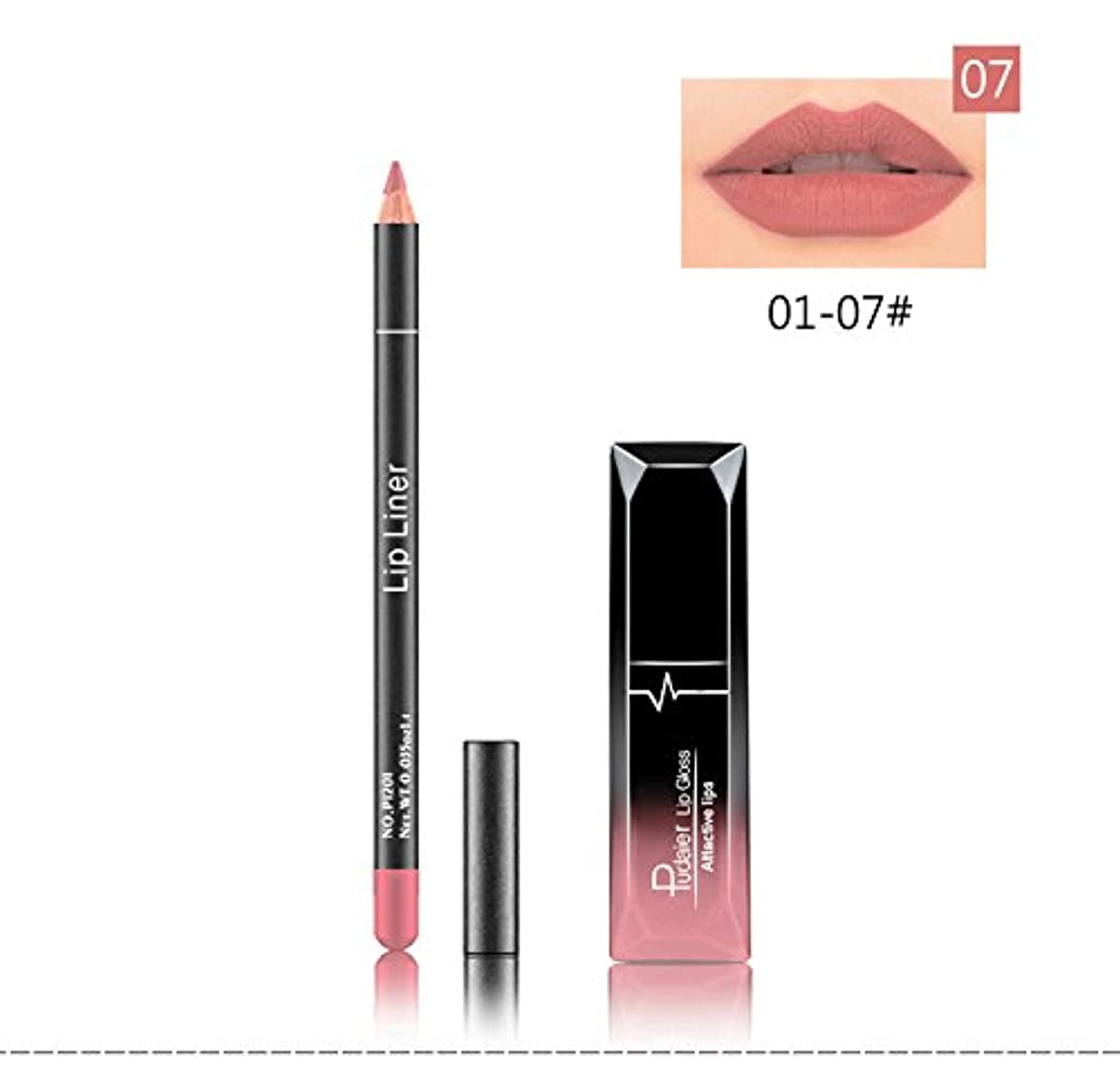 魔法ハイライト住む(07) Pudaier 1pc Matte Liquid Lipstick Cosmetic Lip Kit+ 1 Pc Nude Lip Liner Pencil MakeUp Set Waterproof Long...