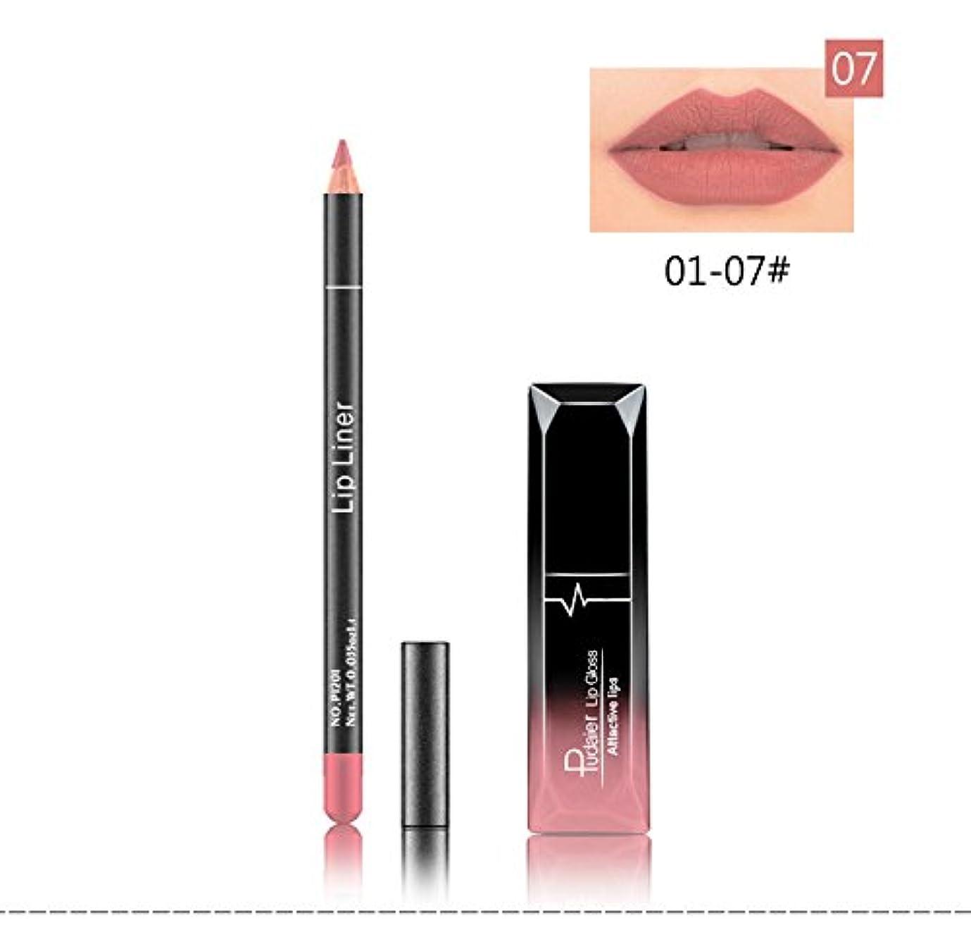 留め金管理頑固な(07) Pudaier 1pc Matte Liquid Lipstick Cosmetic Lip Kit+ 1 Pc Nude Lip Liner Pencil MakeUp Set Waterproof Long...