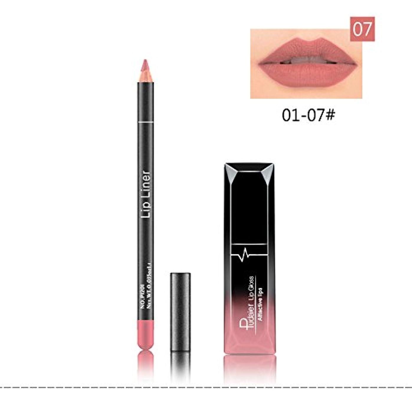 広く空虚シチリア(07) Pudaier 1pc Matte Liquid Lipstick Cosmetic Lip Kit+ 1 Pc Nude Lip Liner Pencil MakeUp Set Waterproof Long...