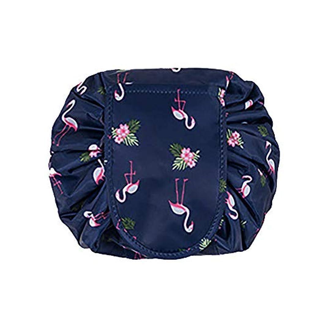 大容量 レイジーメイクアップトイレタリーバッグ 引きひも ポータブル 旅行 カジュアル 防水 クイック 魔法 化粧品収納バッグ 女性にぴったり (ダークブルーフラミンゴ)