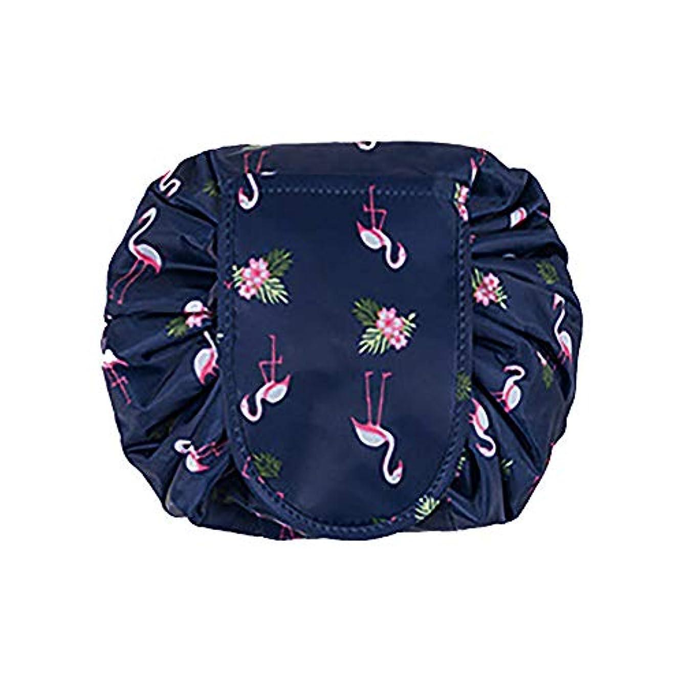 香港ミスクランプ大容量 レイジーメイクアップトイレタリーバッグ 引きひも ポータブル 旅行 カジュアル 防水 クイック 魔法 化粧品収納バッグ 女性にぴったり (ダークブルーフラミンゴ)
