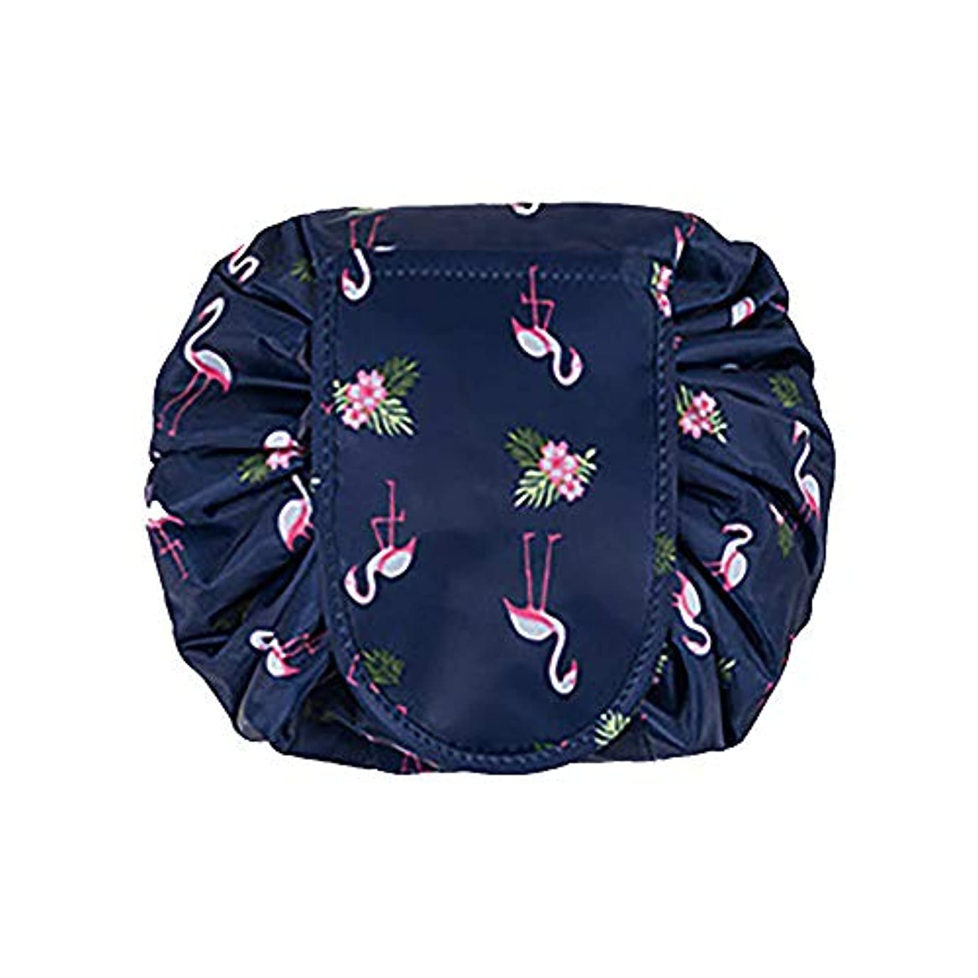 たくさん家庭路地大容量 レイジーメイクアップトイレタリーバッグ 引きひも ポータブル 旅行 カジュアル 防水 クイック 魔法 化粧品収納バッグ 女性にぴったり (ダークブルーフラミンゴ)