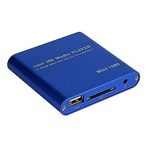 【 簡単 接続 】 超 小型 多機能 ポータブル メディア プレーヤー 日本語 英語 1080p 対応 HDMI 出力 SD USB 手のひらサイズ MI-MINIMEDIA (ブルー)