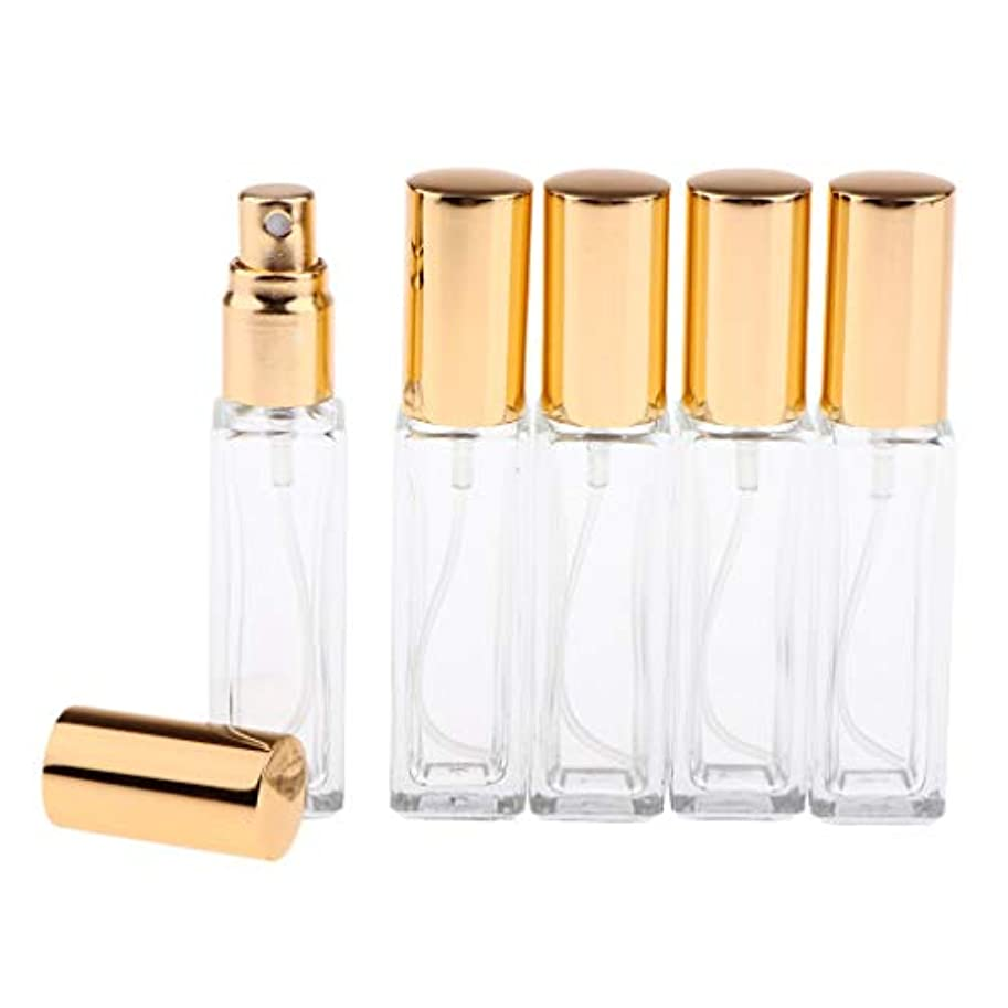 憂鬱な債務メロディーPerfeclan 香水アトマイザー スプレーボトル 空のボトル ポンプボトル ファインミストスプレーボトル 6カラー 5個 - 金色キャップ