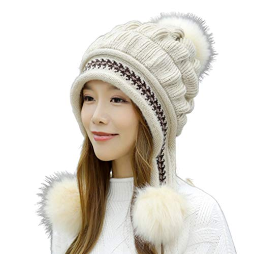 FUPUONE 帽子 レディース 冬 ニット帽 手袋 防寒 帽子と手袋のセット 4カラー (ベージュ)