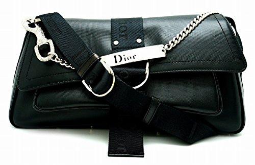 [クリスチャン ディオール] Christian Dior 2WAY ハンドバッグ ショルダーバッグ ラインストーン チェーンショルダー レザー ロゴプレート 黒 ブラック [中古]