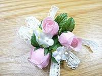 手作りキット・花飾り・胸花◆レースリボンと白い小花のコサージュキット(ピンク)