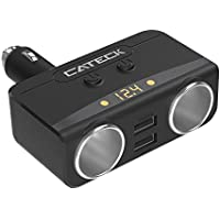 Cateck シガーソケット2連 車用ソケット分配器 シガーライターおまけ 2USBポート 車載充電器 電圧バッテリー表示 最大3.1A/5V Apple Android各種に適用 12/24V車対応